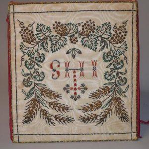 Bourse de Corporal (liturgie) - broderie religieux fil d'or sur soie - XIXème