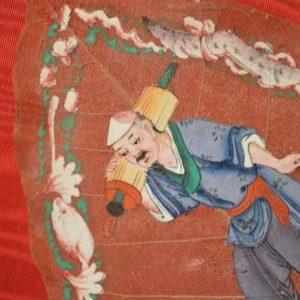 Chine : peinture sur feuille végétale - Figuier des pagodes