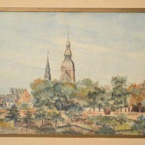 Marcel REYNAUD (XX) - Aquarelle ville de Dinan (Bretagne) - 1916