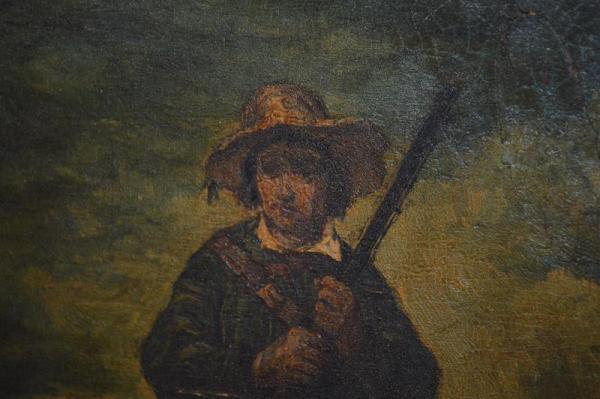 Paysans à la chasse - Tableau du XVIIe siècles - huile sur bois