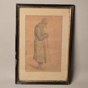 Pierre Laplanche (1803–1882) - tableaux - Dessin Vielle homme à la pipe - Avignon