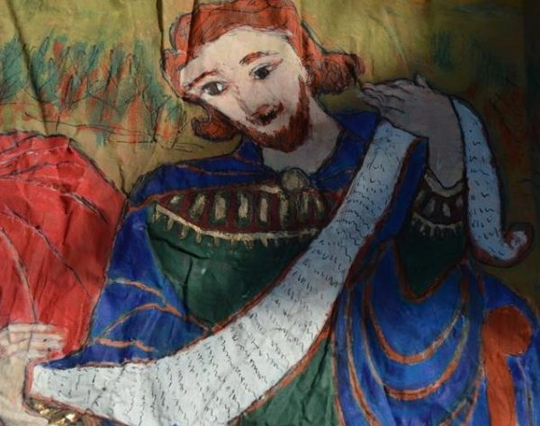 Alice COLONIEU (1924-2010): Réunion des Templiers, Grande toile - archevêque - jésus christ