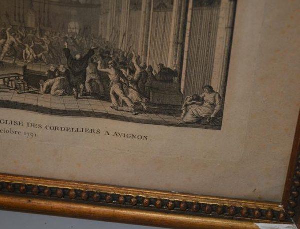 Mort de l'ecuyer dans l'église des cordeliers a Avignon - Eau-forte du XVIII