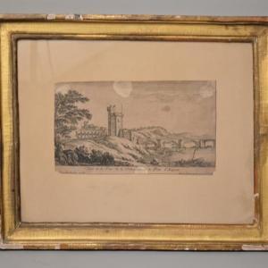 Gravure: Tour Philippe le Bel à Villeneuve les Avignon et le pont d'Avignon - Israël Henriet