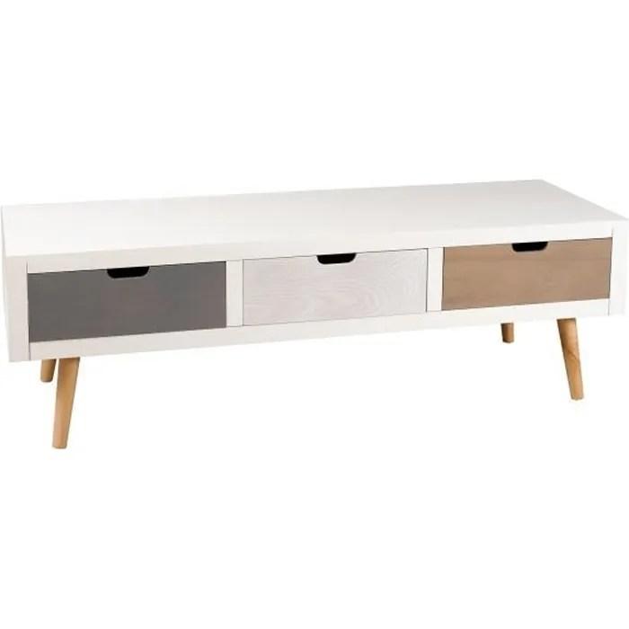 meuble tv 3 tiroirs blanc gris pin