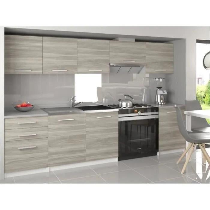 novia cuisine complete modulaire lineaire 240 180 cm 7 pcs plan de travail inclus meubles cuisine aspect bois blanc