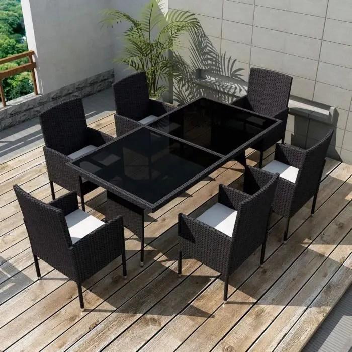 jeu de mobilier de jardin 13 pcs salon de jardin noir resine tressee