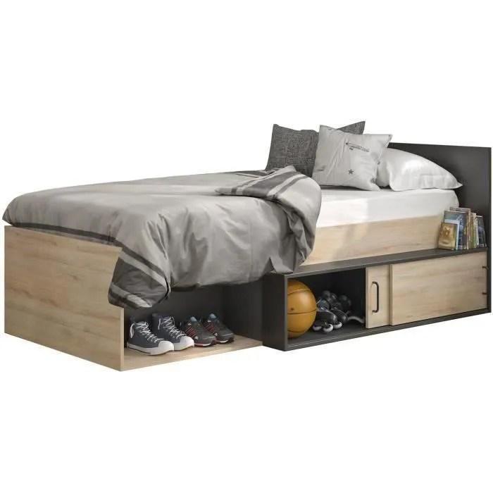 lit enfant avec rangement decor chene kronberg clair et noir 90 x 200 cm erquy