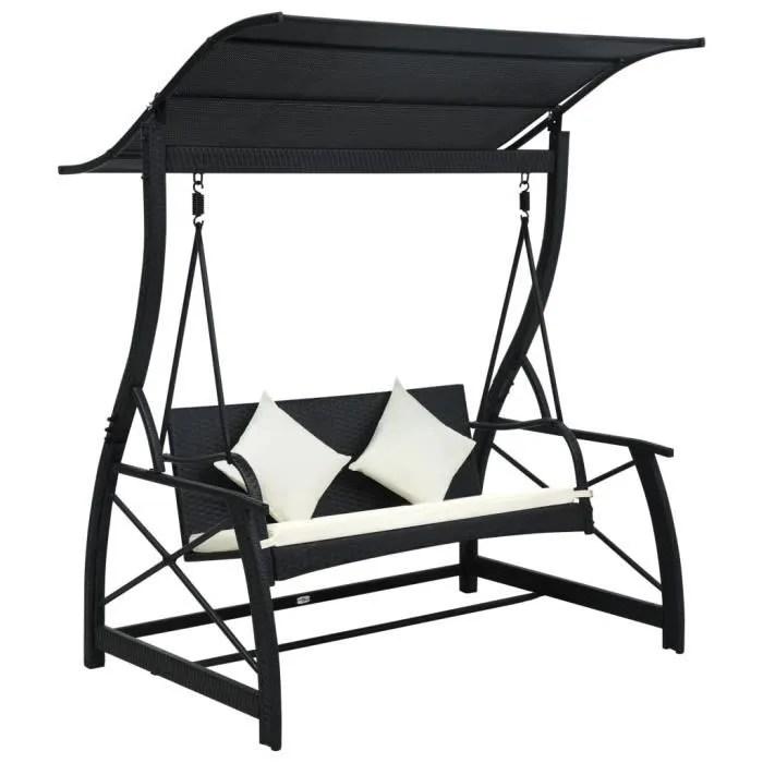 balancelle de jardin confort fauteuil suspendu 2 3 places avec auvent resine tressee noir