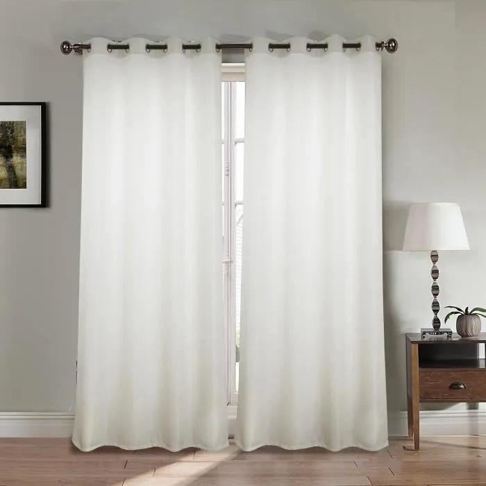 paire double rideaux 140x260 cm blanc effet lin