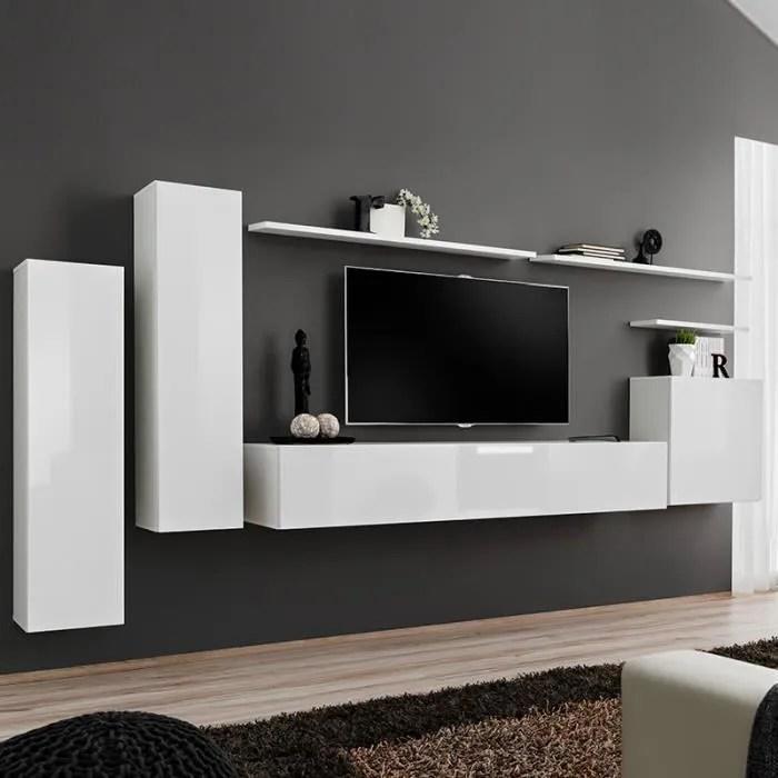 meuble tv suspendu blanc solendro 3 l 330 x p 40 x