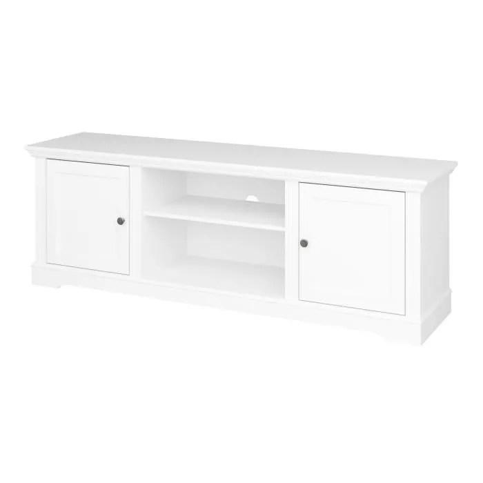 venice meuble tv 2 portes laque blanc l 160 x
