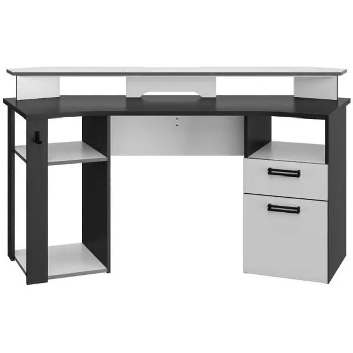 bureau gaming led 1 tiroir 1 porte decor blanc et anthracite l 170 x p 67 x h 75 88 cm player