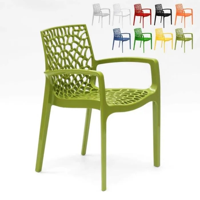 chaise en polypropylene accoudoirs jardin cafe grand soleil gruvyer arm couleur anis vert
