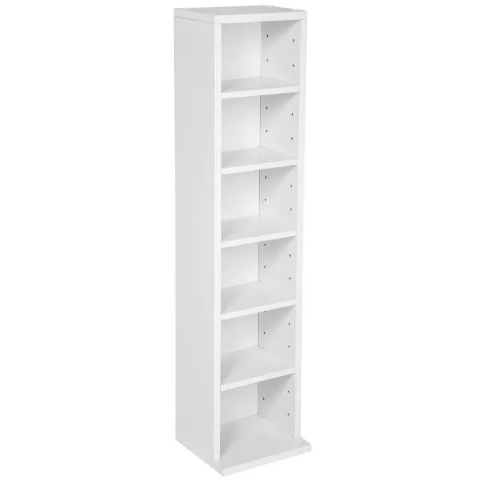 tectake meuble de rangement cd dvd 5 etageres modulables 21 cm x 90 cm x 20 cm blanc