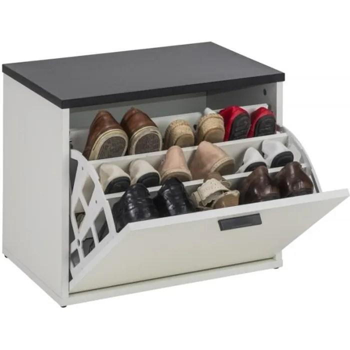 Banc Coffre A Chaussures 9 Paires Coloris Blanc Simmob Rangement Sejour Cdiscount Maison