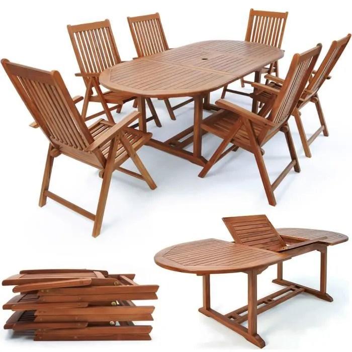 deuba ensemble de jardin 6 1 en bois d eucalyp
