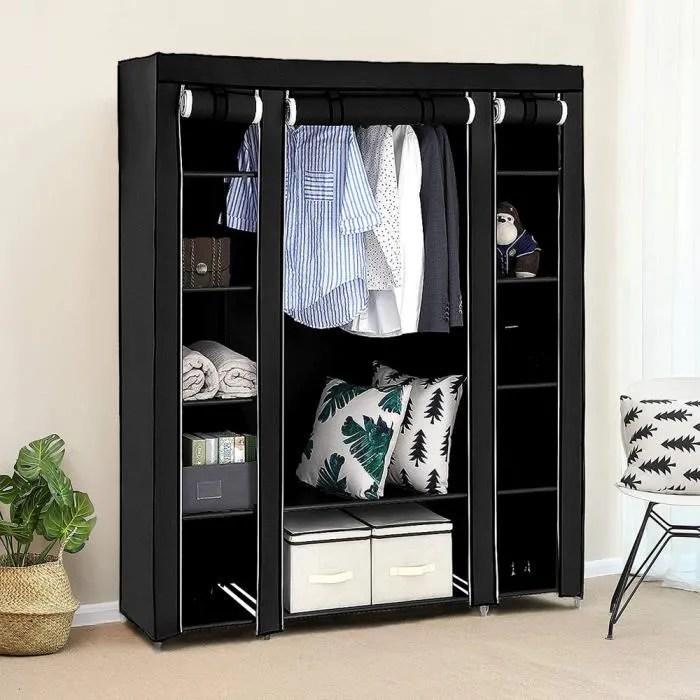 mixmest armoire rangement chambre penderie pas cher noir structure stable en metaux 150 45 175cm