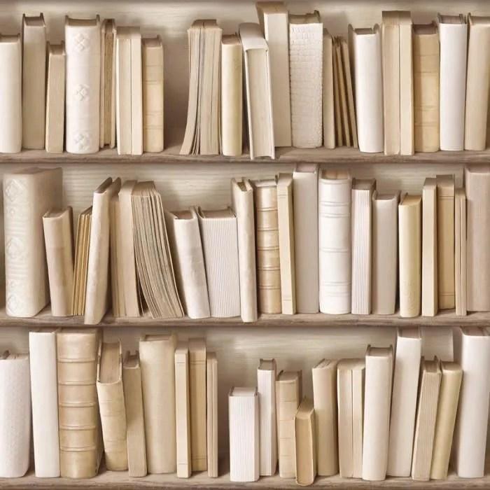 papier peint bibliotheque ivoire trompe