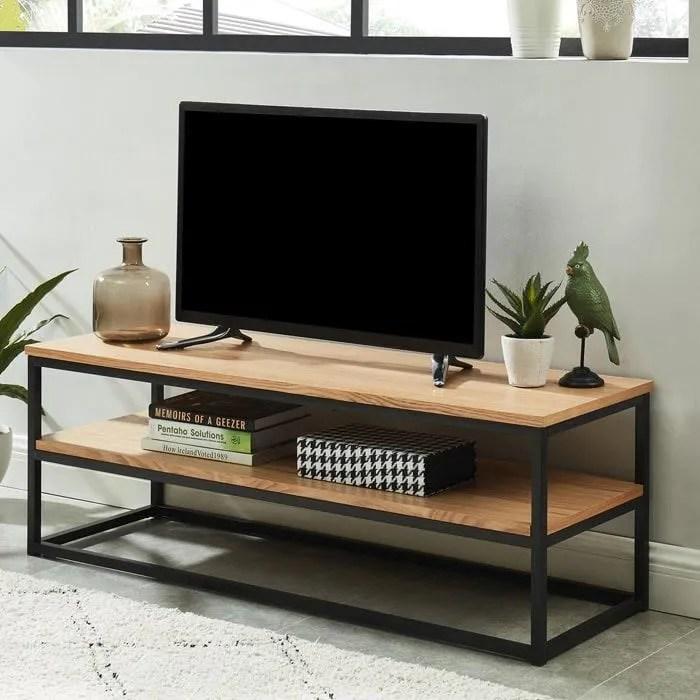 meuble tv industriel 120x40x42 cm collection brixton