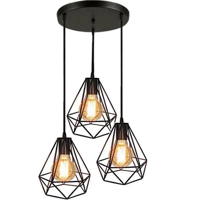 lampes de plafond abat jour suspension lustre cage 3 luminaire pour salon cuisine restaurant bar cafe