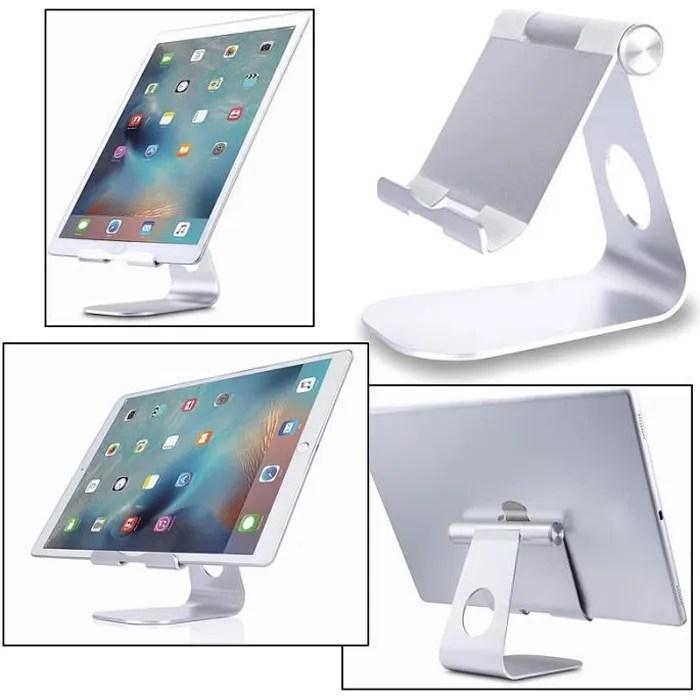 support dock pied aluminium metallique pour tablette ipad smartphone