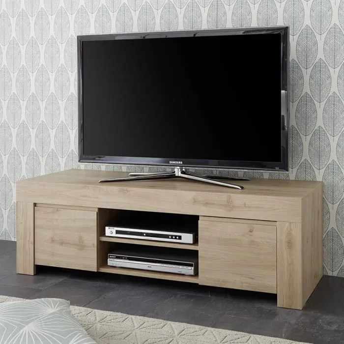 meuble tv contemporain 140 cm chene clair alano bl