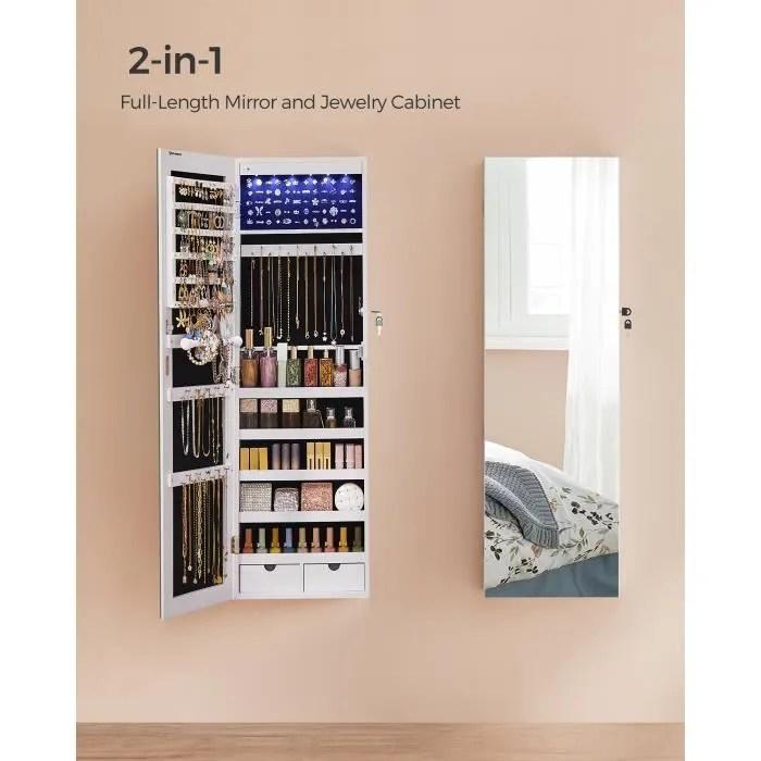 songmics armoire a bijoux avec long miroir coffre a bijoux avec 6 lampes led fixee au mur 2 tiroirs blanc jjc99wt