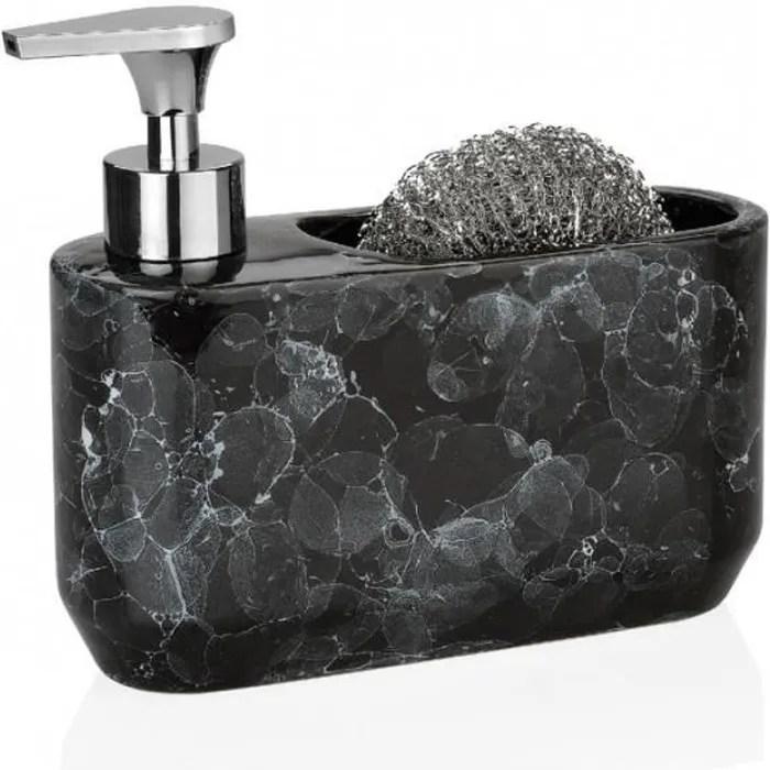 distributeur liquide vaisselle et porte eponge ceramique effet marbre noir 0 000000