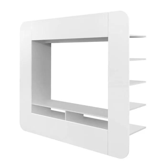 meuble tv media wall arrondi blanc