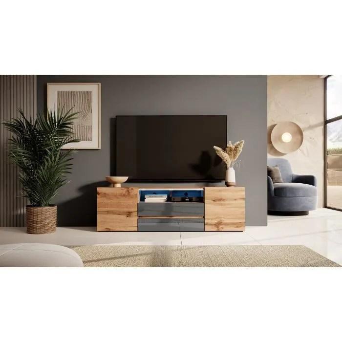 meuble tv meuble de salon bros 140 cm chene wotan gris brillant avec led 2 niches ouvertes 4 compartiments fermes