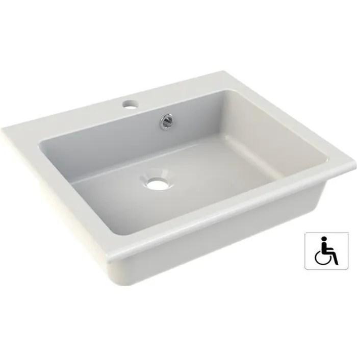 vasque a encastrer pmr dimensions 50 x 40 cm couleur blanc