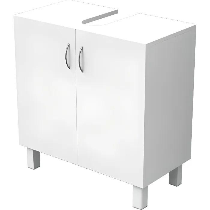 essentiel meuble sous lavabo 2 portes blanc