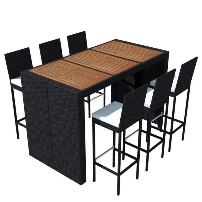 ensembles de meubles d exterieur jeu de bar de jardin 13 pcs rotin et bois d acacia