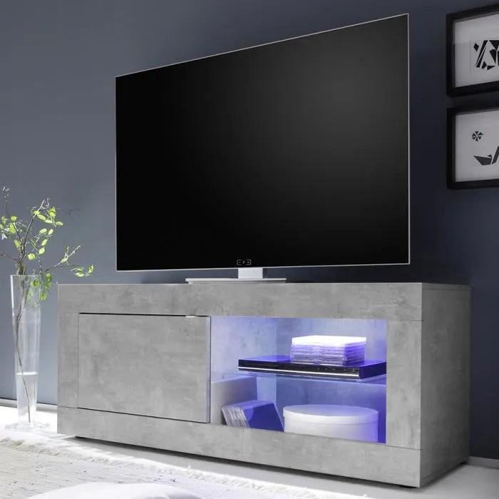 meuble tele 140 cm effet beton gris clair design focia 5 gris l 140 x p 43 x h 56 cm