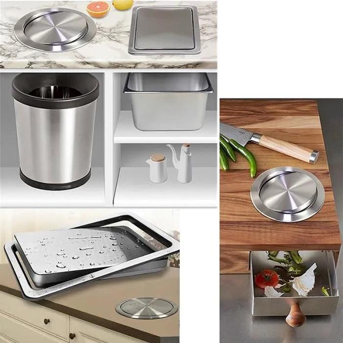 couvercle encastre acier inoxydable sur plan de travail pour poubelle de cuisine