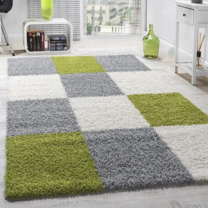 tapis shaggy longues meches hautes carreaux gris b
