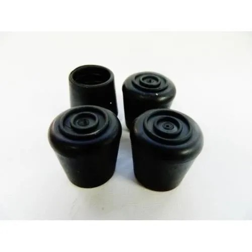 4 embouts pieds embout chaise table caoutchouc noir ronds pour tube metal patins 18 mm