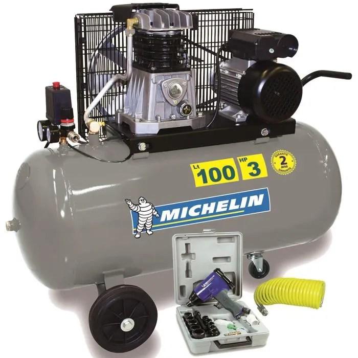 Michelin Compresseur 100 L Bicylindre Fonte 3 Cv 10 Bars Cdiscount Bricolage