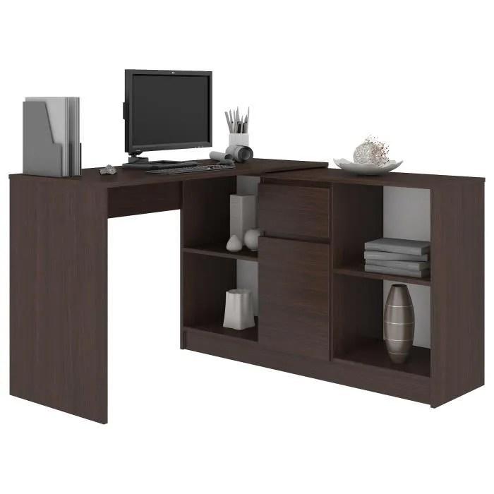 kereste bureau informatique d angle modulable commode 120x126x79 77 cm table ordinateur contemporaine multi rangements wenge