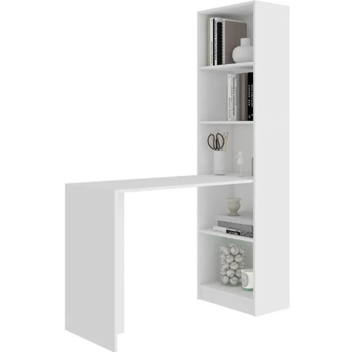 merak bureau reversible avec bibliotheque bureau salon 125x180x50 cm meuble rangement gain de place bureau compacte blanc