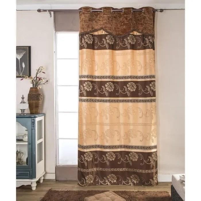 paire de double rideaux 140x260 cm marron chocolat