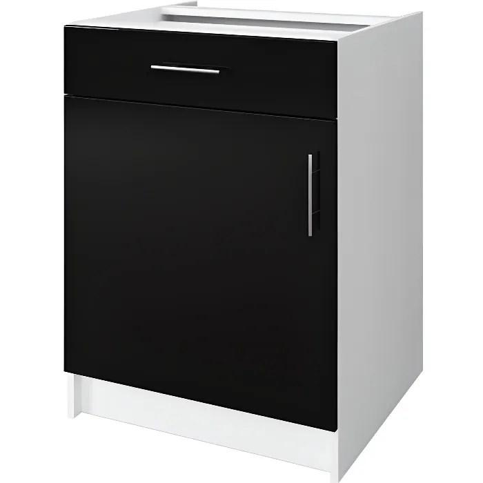 obi caisson bas de cuisine avec 1 porte 1 tiroir l 60 cm blanc et noir laque brillant