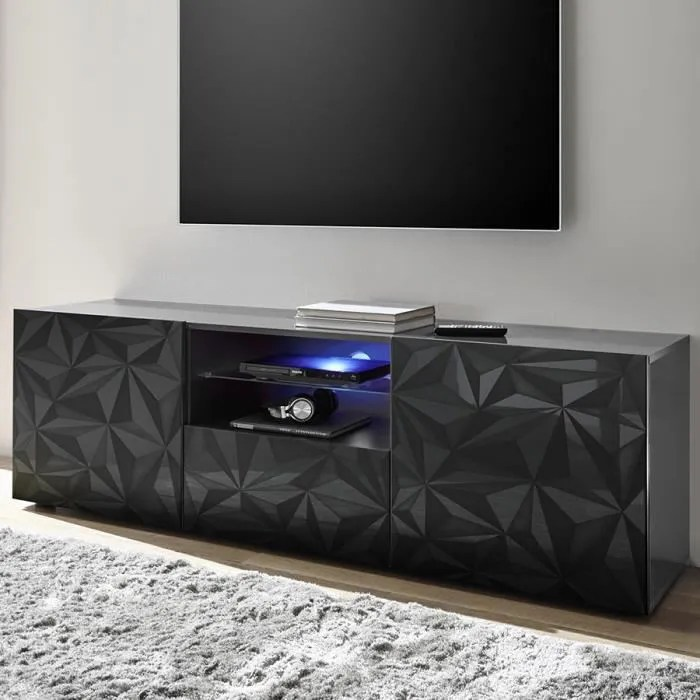 meuble tv long 180 cm gris laque design antonio 3