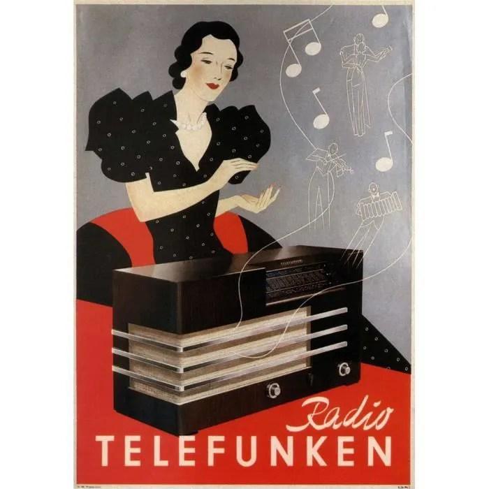 poster affiche radio telefunken art deco publicite ancienne vintage 42cm x 60cm