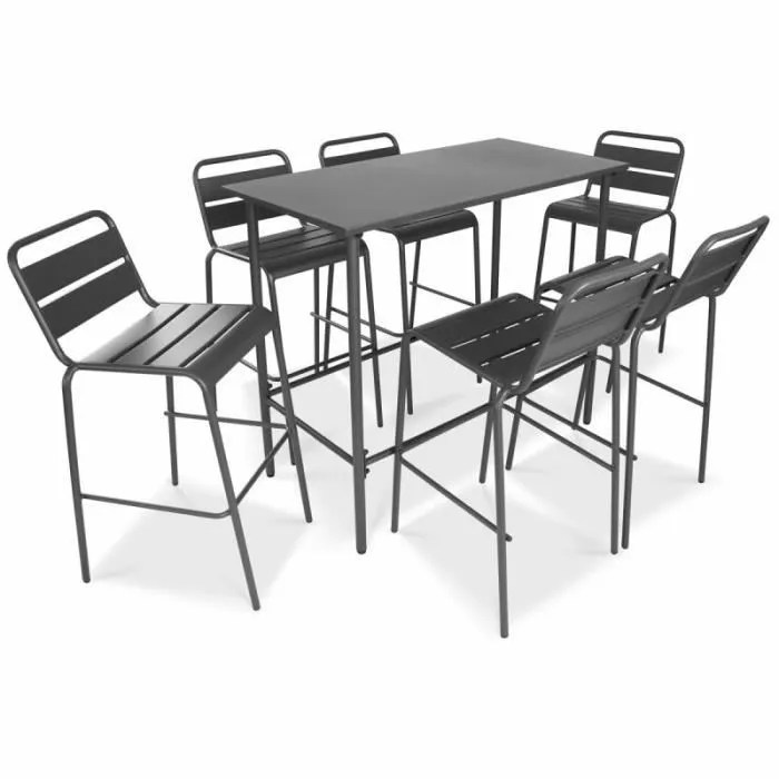ensemble table haute de bar en metal et 6 tabouret