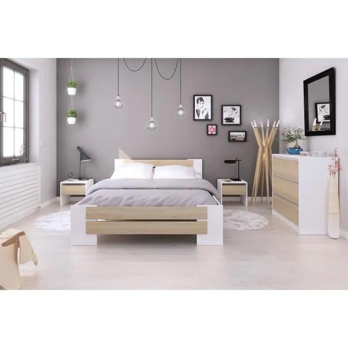 mao chambre adulte complete contemporain blanc mat et decor chene sonoma l 140 x l 190 cm