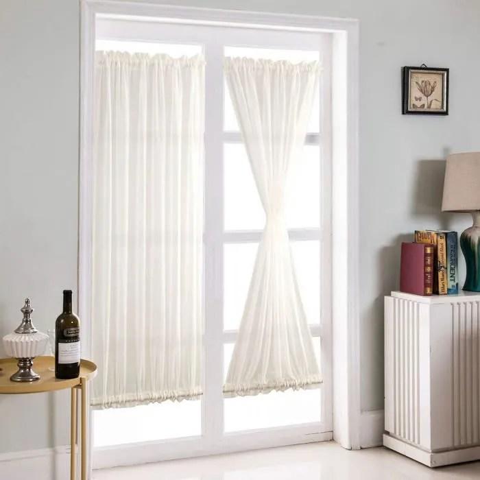 1 piece rideau voilage decoration pour cuisine salon porte patio chambre blanc 25 x72 7081