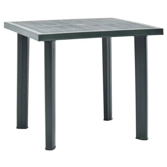 table de jardin vert 80x75x72 cm plastique avec un