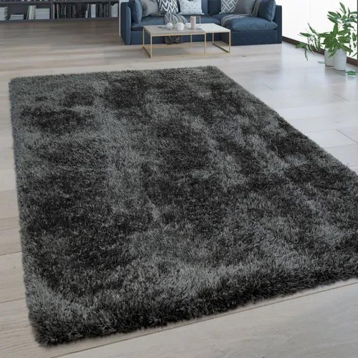 tapis salon poils longs lavable shaggy aspect flokati uni gris 200x280 cm